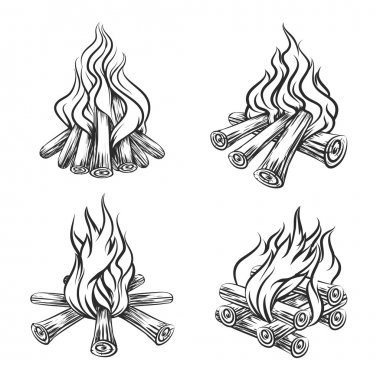 Hand drawn vector bonfire set