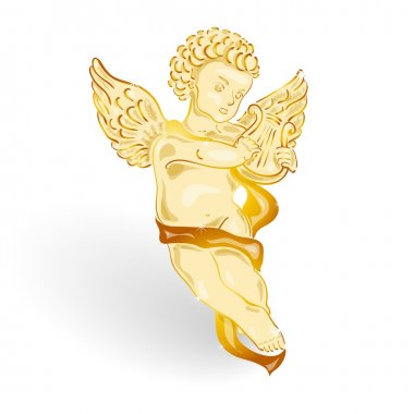 Golden angel with music lyre