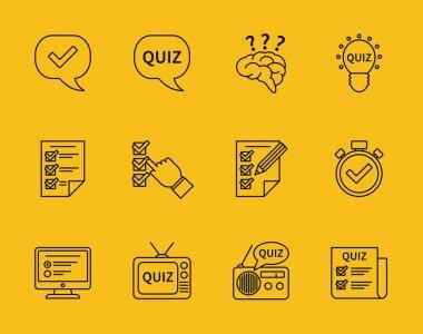 Set of vector line quiz icons