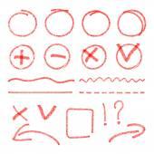 Vektorové červené zvýraznění prvků. Kruhy, šipky, zaškrtávací značky, značky a čáry