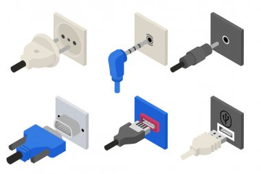 Plugs icons, isometric 3d vector