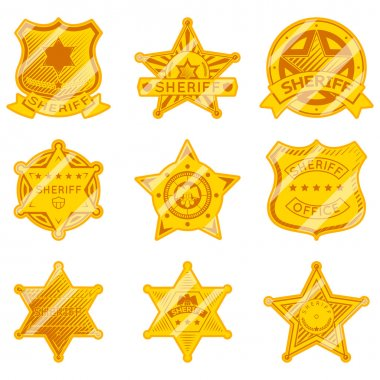 Golden sheriff star badges