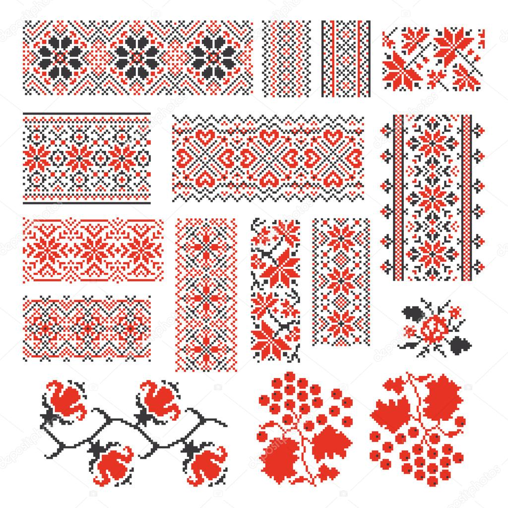 Ukrainian ethnic national seamless patterns vector set. Embroidery stitch