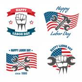 Fotografie United States Labor Day national holiday vector logos, badges, emblems and labels set