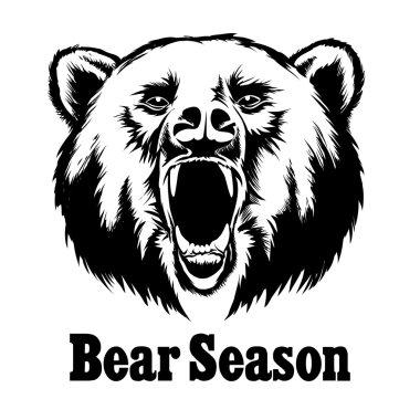 Hand drawn vector roaring bear. T-shirt design