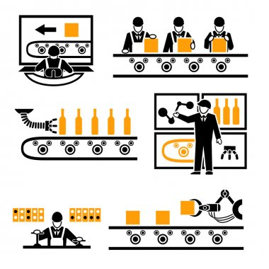 Factory production process icons