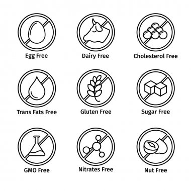 Food diet and GMO free icons set in line design style