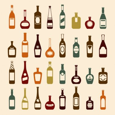 Beer bottles and wine icon set