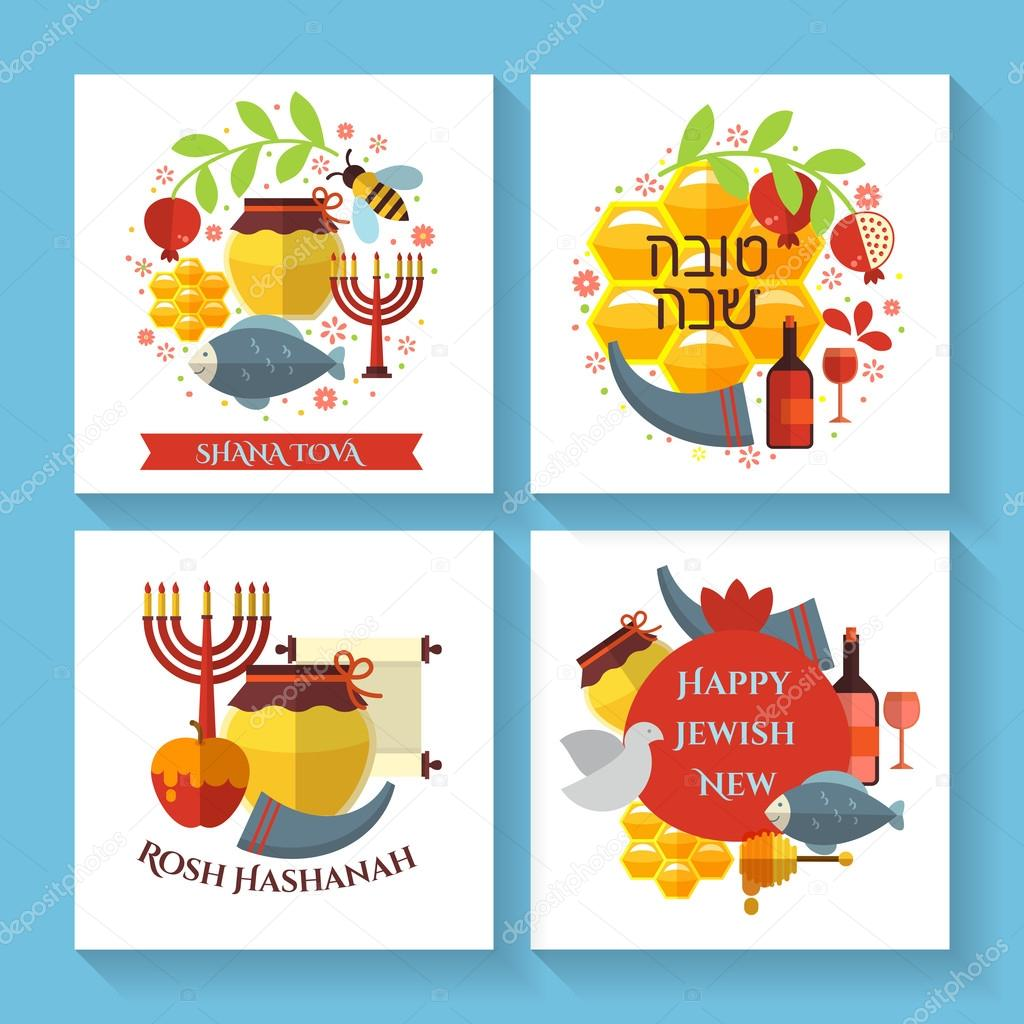 Happy jewish new year shana tova greeting cards stock vector happy jewish new year rosh hashanah shana tova vector greeting cards vector by mssa kristyandbryce Choice Image