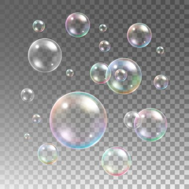 Transparent multicolored soap bubbles vector set on plaid background. Sphere ball, design water and foam, aqua wash illustration clip art vector