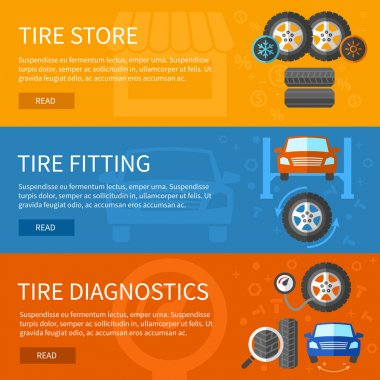Vector banners set of tire service