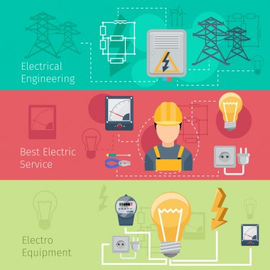 Electricity and power industry horizontal banners vector set