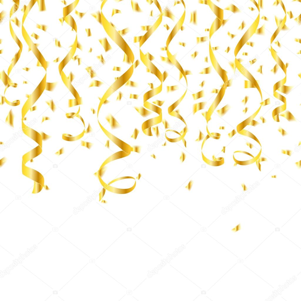 Party golden confetti streamers