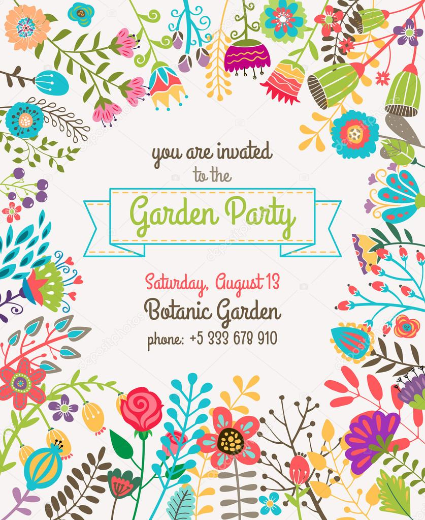 Garden or summer party invitation template poster vetor de stock garden or summer party invitation template poster vetor de stock stopboris Images