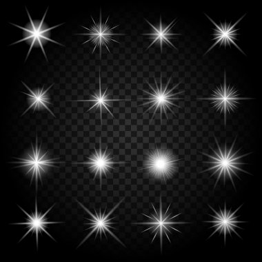 Stars bursts with sparkles and glowing light effects. Graphic bright set, burst firework twinkle, vector illustration stock vector