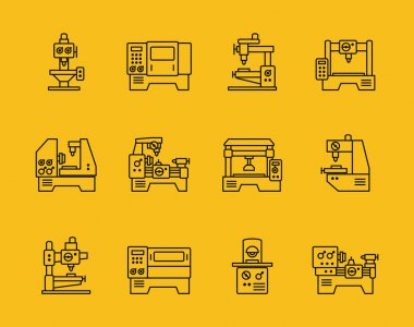 Vector thin line machine tool icons