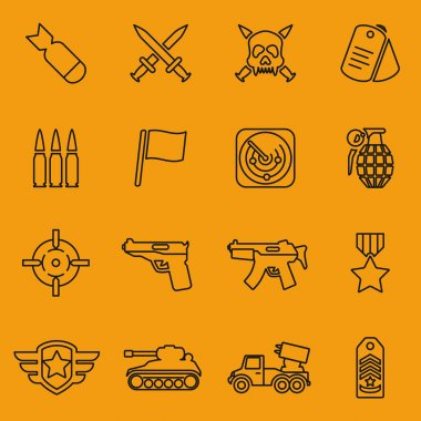 Military vector line icons