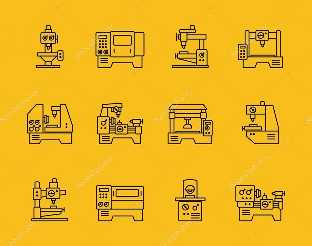 Vector thin line machine tool icons