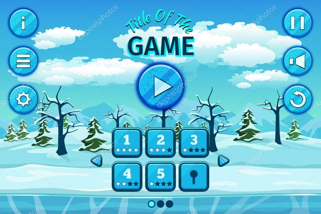 Cartoon winter or arctic landscape with ice, snow cloudy sky. Game user interface control elements, buttons, status bar and icons