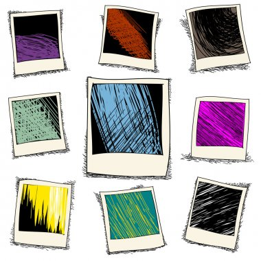 Set of retro photo frame in doodle style