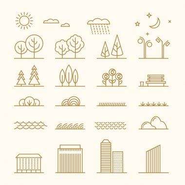 Linear landscape elements vector icons set. Line trees, flowers, bushes, water waves, cloud, stones, grass, planets and stars