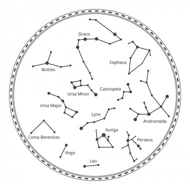 Vector sky map with constellations