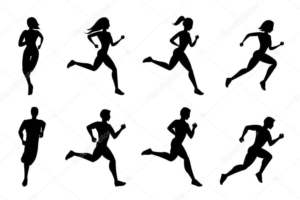Running people silhouettes