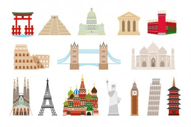 World landmarks icons in flat style