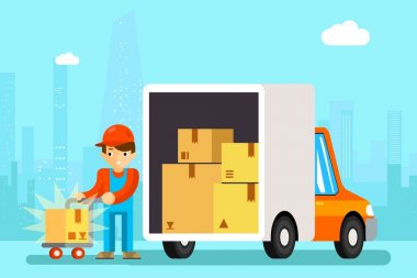 Delivery man unload delivery car boxes