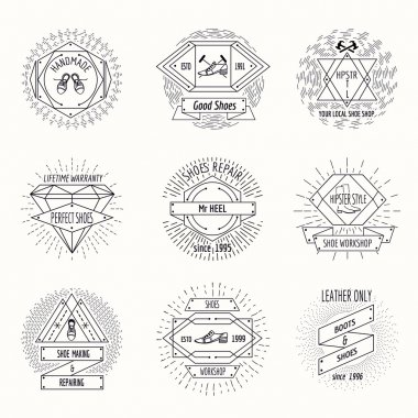 Shoemaking logo or shoes repair labels in hipster vintage style