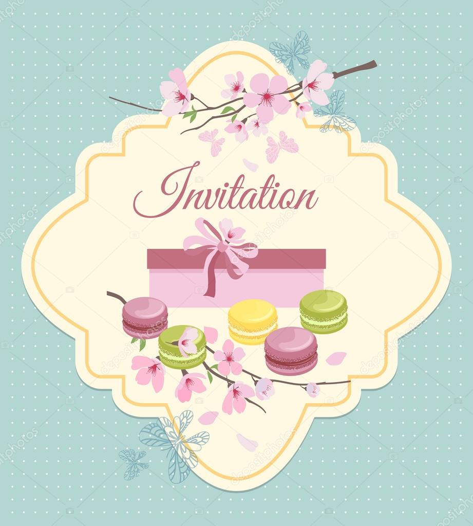Invitation card to tea party with flowers and french macaroons in invitation card to tea party with flowers and french macaroons in vintage nostalgic style vetor stopboris Images