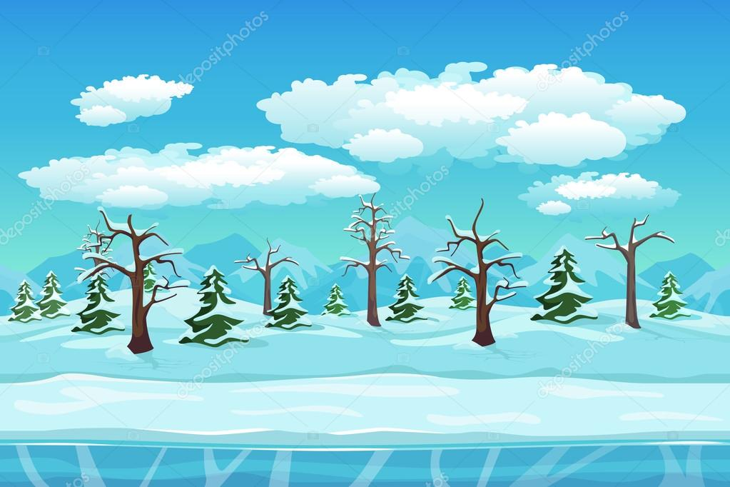 Cartoon winter landscape with ice, snow and cloudy sky. Seamless vector nature background for games