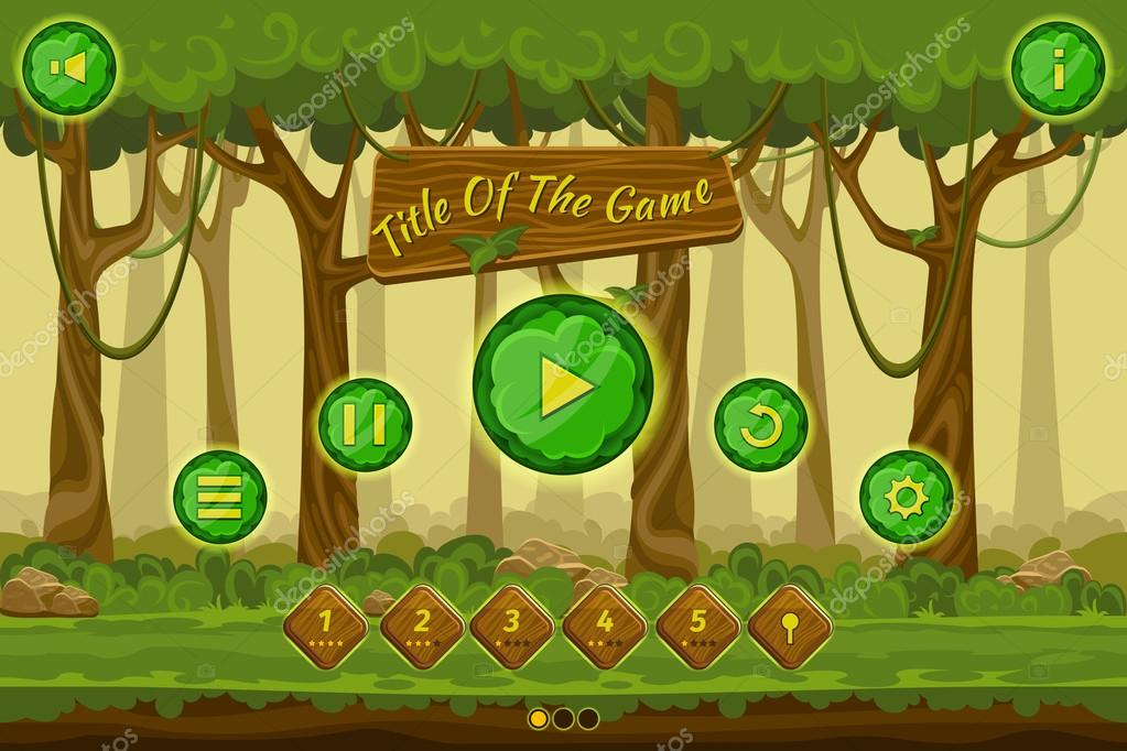 Cartoon game user interface with control elements, buttons, status bar and icons on seamless forest landscape. Vector illustration