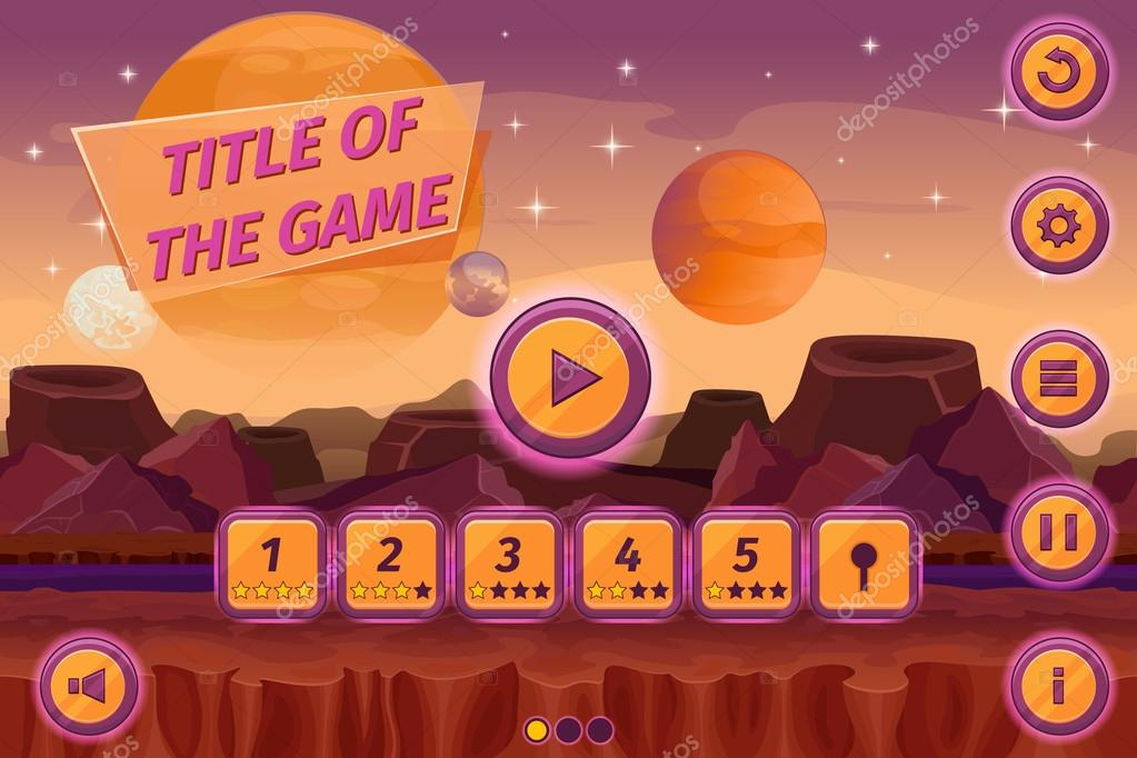 Sci-fi game cartoon user interface with control elements, buttons, status bar and icons on seamless alien planet landscape. Vector illustration
