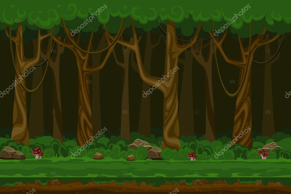 Cartoon computer games night forest landscape