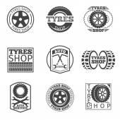 Reifen-Shop-Logo. Oldtimer-Vektor-Etikett