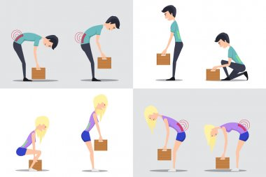 Proper and improper lifting vector flat illustration