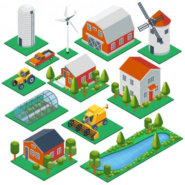 Isometric rural buildings and cottages. 3d tractor, combine, pickup  vector icons set