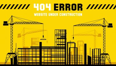 Under Construction site. 404 page. Vector template
