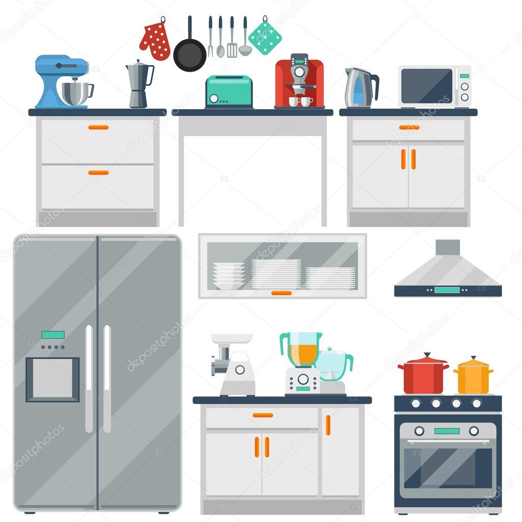 Flat vector kitchen with cooking tools equipment and - Sofas para cocinas ...