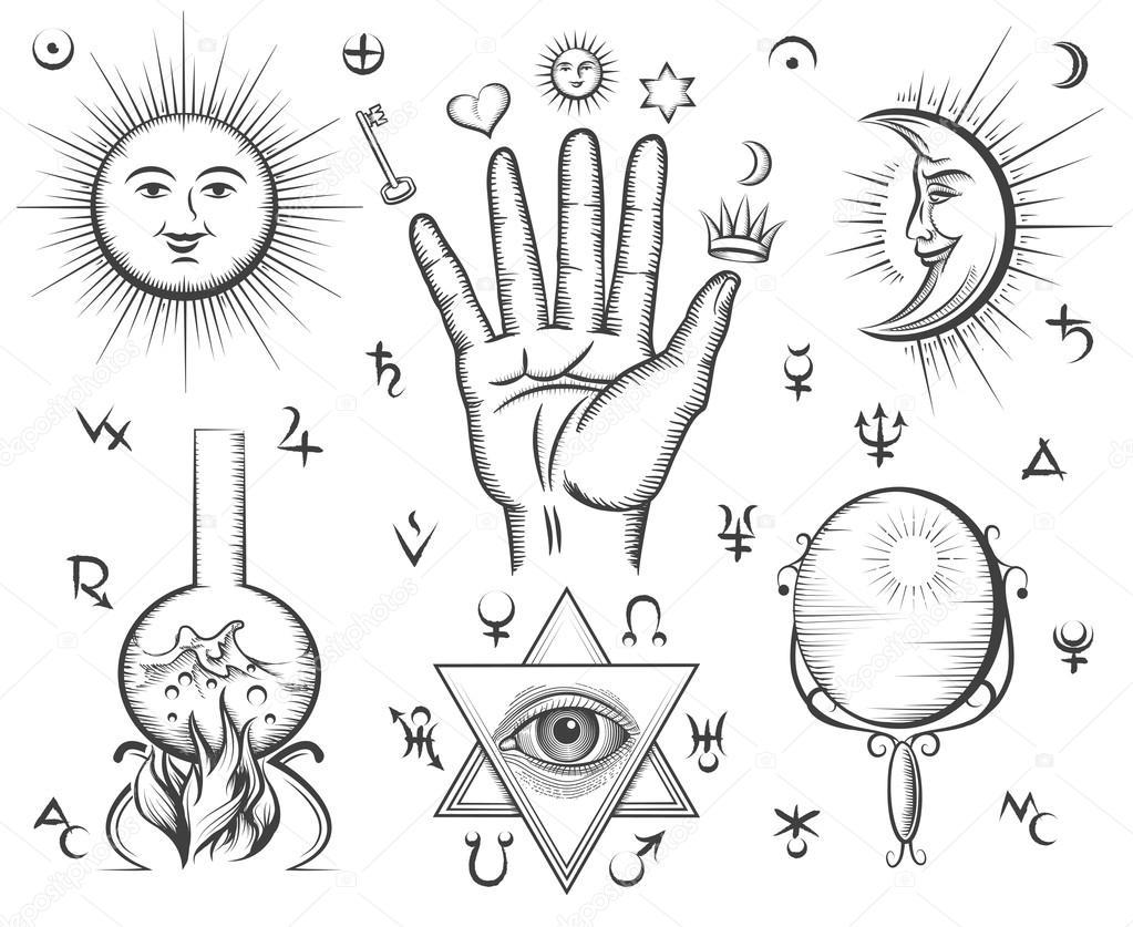 Alchemia Duchowość Okultyzmu Chemia Magia Tatuaż Wektor