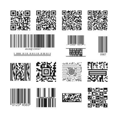 Barcodes and QR codes vector set