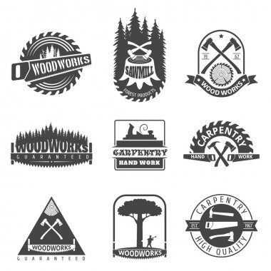 Carpentry, sawmill and woodwork vintage logos