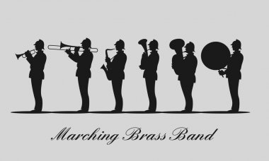 Marching brass band black vector silhouette