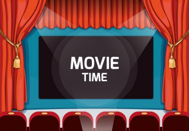 Vintage vector theater stage with red curtains and spotlight. Retro movie party background in comic art style