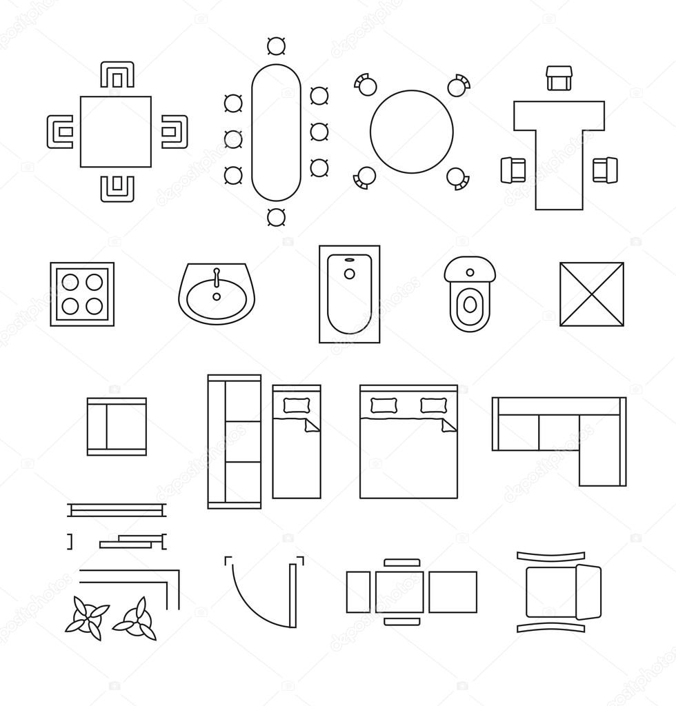 Wondrous Bathroom Floor Plan Symbols Furniture Linear Vector Download Free Architecture Designs Scobabritishbridgeorg