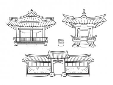 Hanok Korean traditional architecture vector outline set