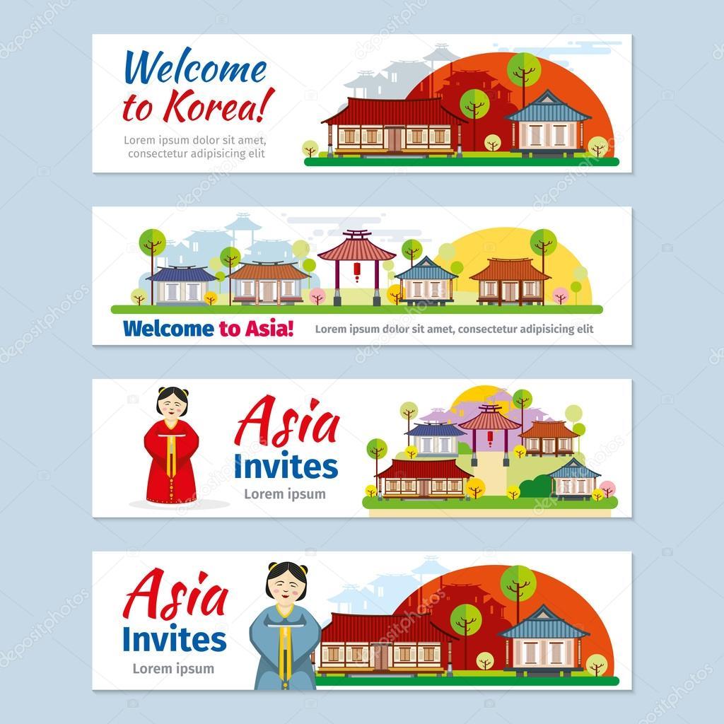 korea japan thailand travel vector banners template set ストック