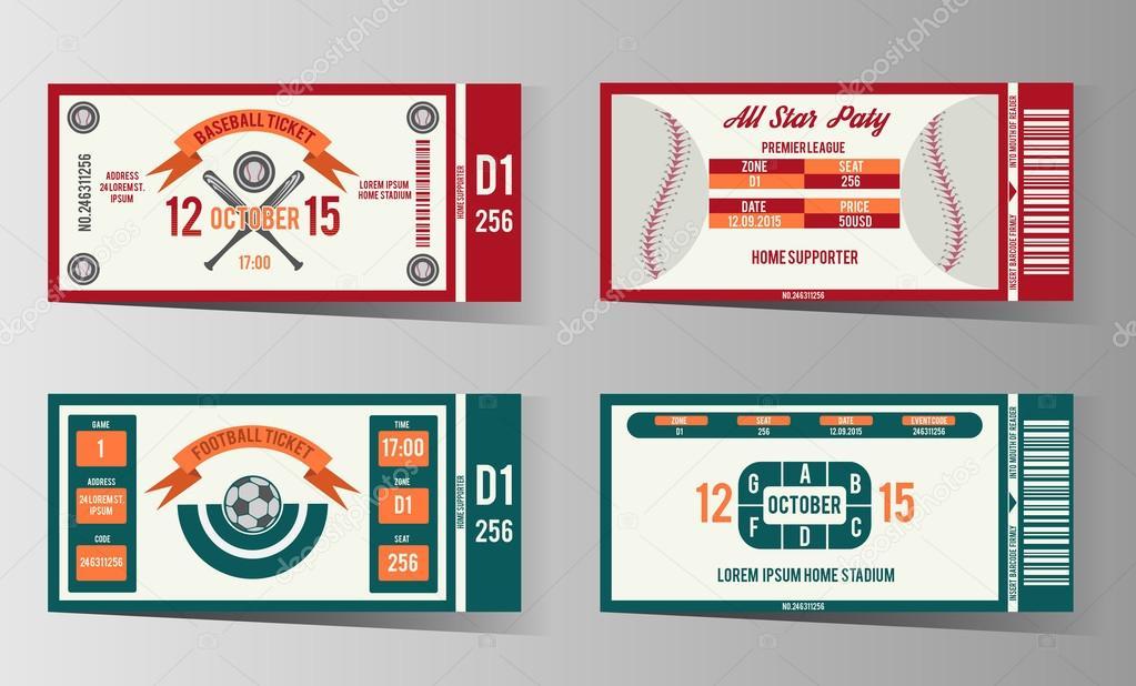 football soccer and baseball ticket vector design template stock