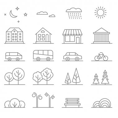 Buildings, transport, car and tree line vector icons set. Elements for city map